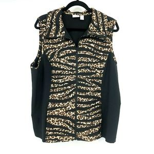 Weekend by Chicos Animal Print FullZip Vest Jacket